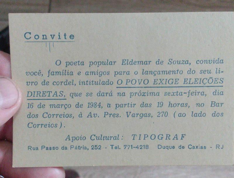 cordel O Povo Exige Eleições Diretas, do jornalista e poeta Eldemar de Souza